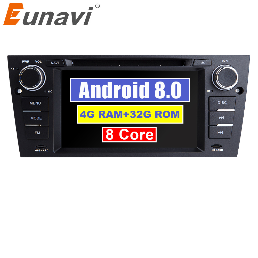Eunavi 7 ''Android 8.0 1 Din dvd de voiture lecteur multimédia GPS Navi Pour 3 Série BMW E90 E91 E92 E93 318 320 325 Canbus USB wifi bt