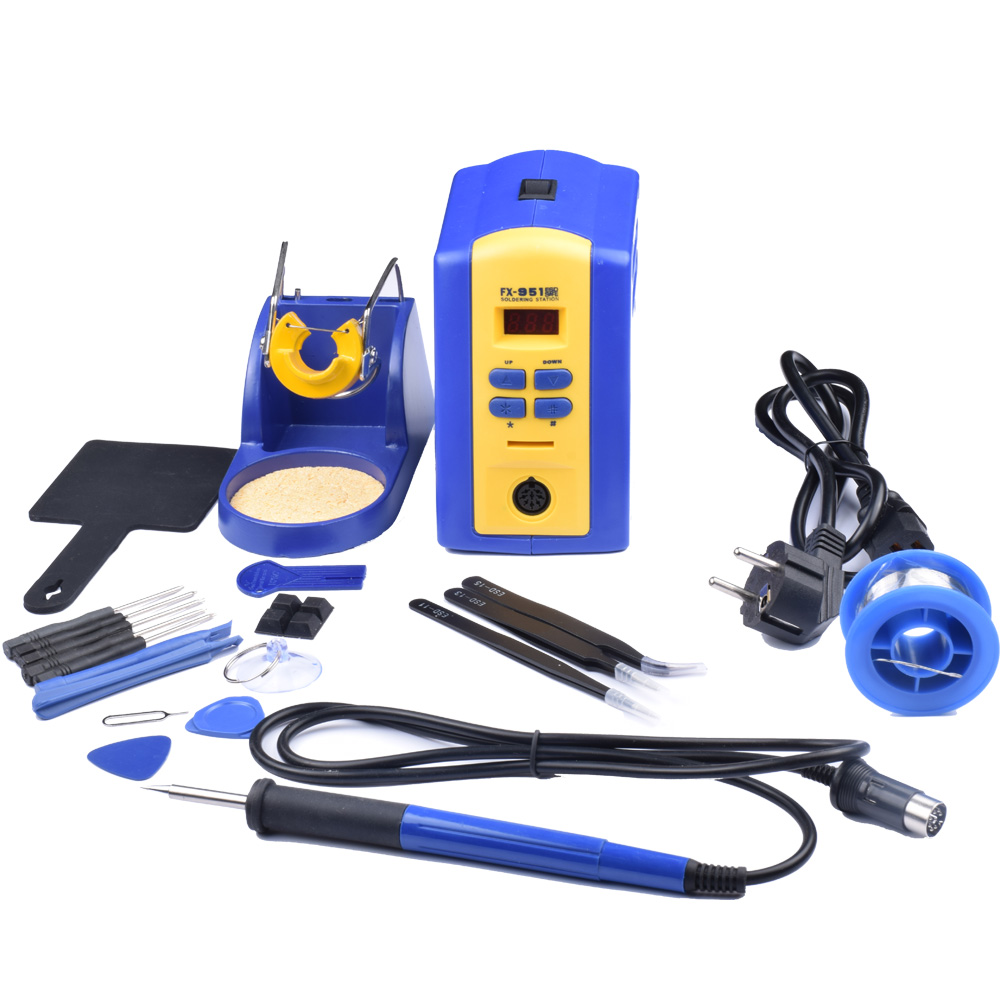 220V EU Plug FX-951 fx951 951 Solder Soldering Iron Station + T12 tip + Solder Wire ws 505 eu plug 220v 100w 10 inch external heat type electric heating welding soldering iron tool