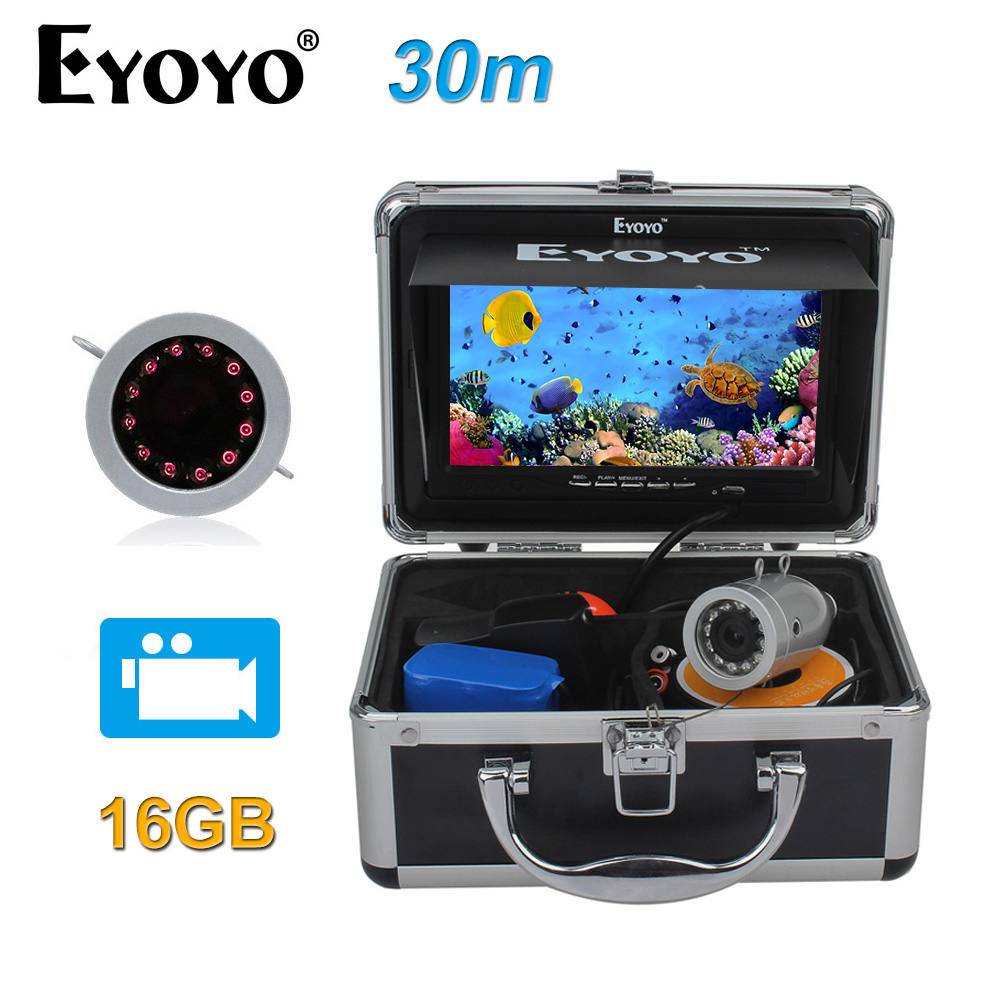 EYOYO Original 30M 7 HD 1000TVL Underwater Infrared IR Fishing Camera Fish Finder Video DVR Recorder 16GB Silver цена
