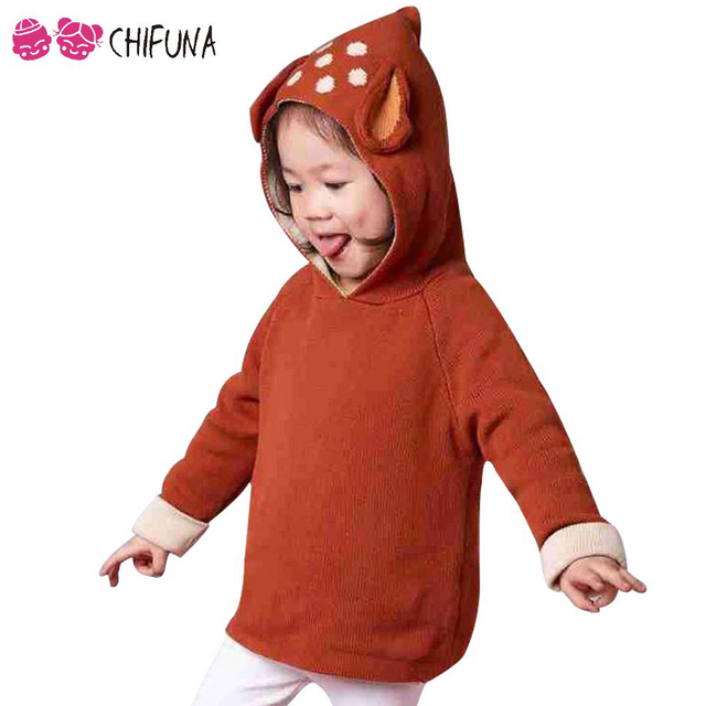 New Fashion Cute Cartoon Deer Ear Knitted Baby Hooded Sweater For Boy Girl Infant Sweater Autumn Winter Clothes Pullover Sweater