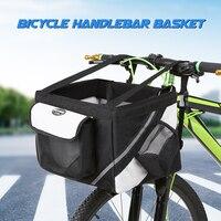 Bicycle Front Handlebar Basket Bike Detachable Cycle Front Canvas Basket Carrier Aluminum Alloy Frame Outdoor Bag Case Package