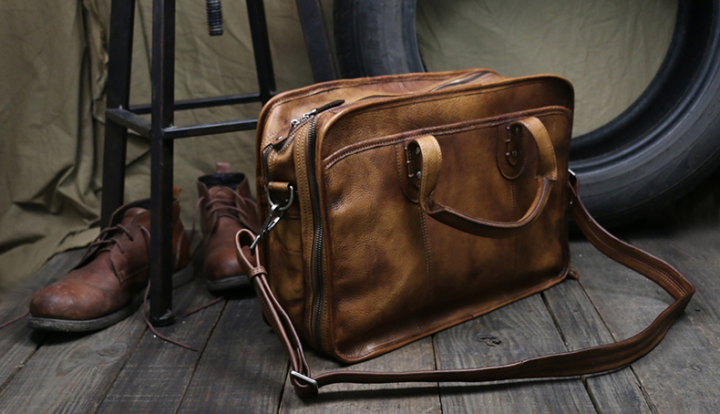 Men's Briefcase Tote Double Layer Messenger Bag Travel 16' Big Laptop Bag For Men Document Business Genuine Leather Briefcase