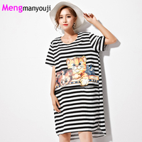 Mengmanyouji Summer Women Cotton T Shirt Dress Stripe Pattern Cat Animal Print Short Sleeve Fashion Casual