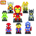 LOZ The Avengers Spiderman Superman Batman Iron Man Wolverine Cyclops Figuras Building Blocks Brinquedos Presente de Natal Das Crianças