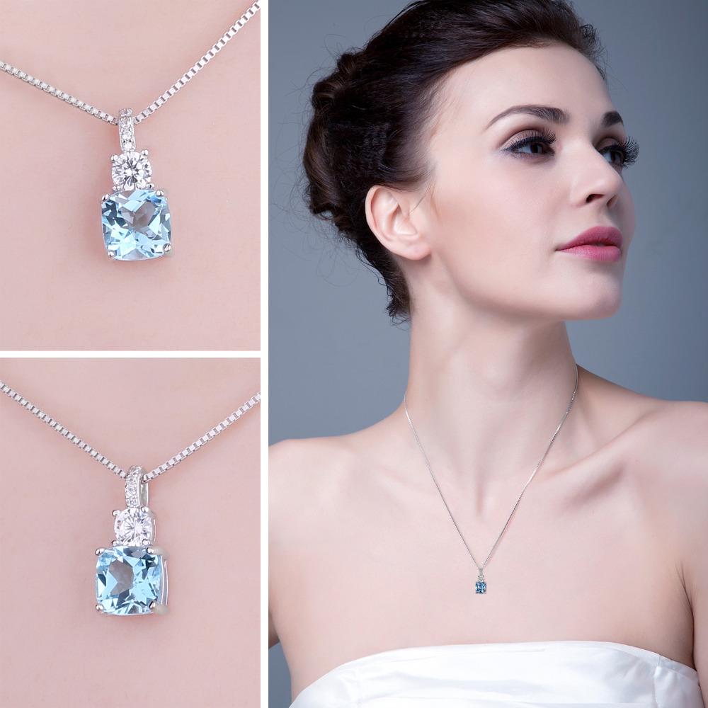 JewelryPalace Natural Blue Topaz Pendant Necklace 925 Sterling Silver Gemstones Choker Statement Necklace Women Without Chain in Necklaces from Jewelry Accessories