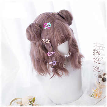 New Harajuku Kawaii Lolita Daily Gothic Short Curly Hair Cosplay Costume Wig For Women\'s Halloween Party With Buns+ Wig Cap
