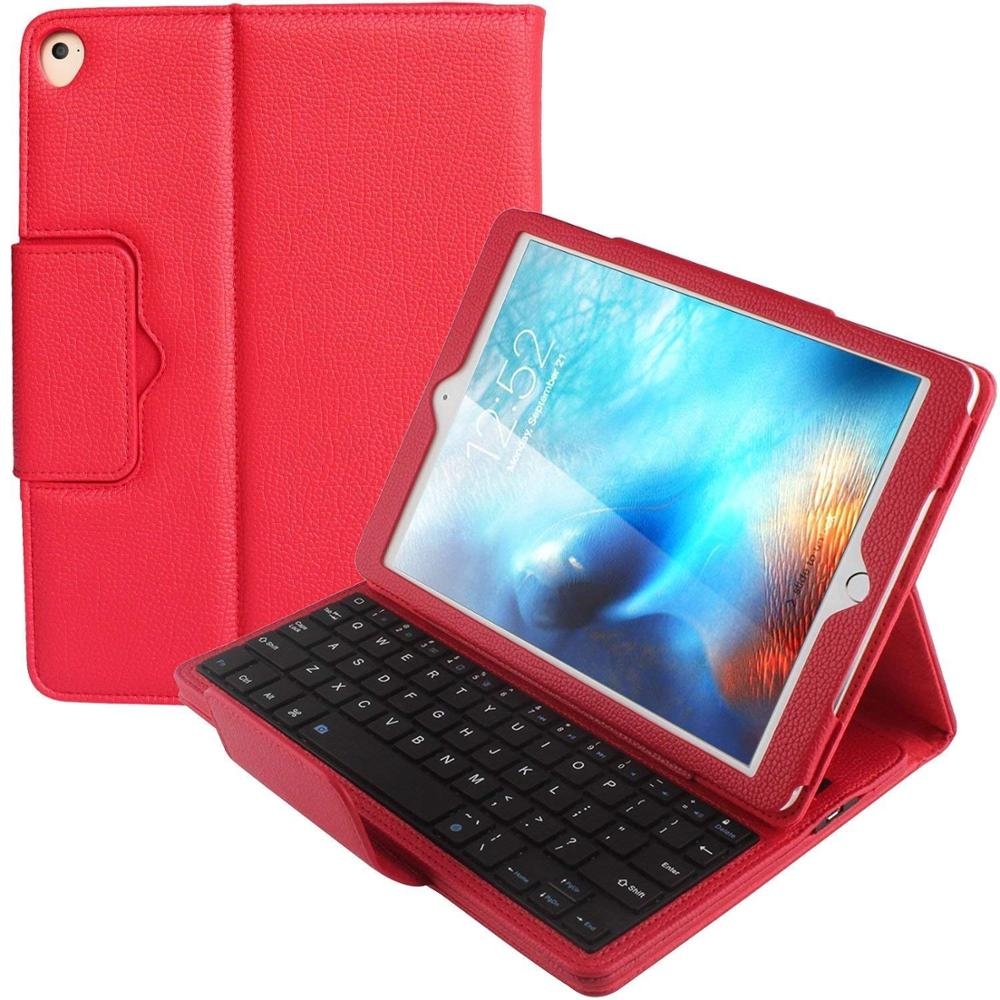 9.7 2017 2018 Detachable Wireless Bluetooth Keyboard Folio PU Leather Case Cover For iPad Air 1/2 9.7 Pro 2018 Tablet Funda Capa detachable bluetooth v3 0 64 key keyboard pu leather case for 9 7 10 1 tablet pc black
