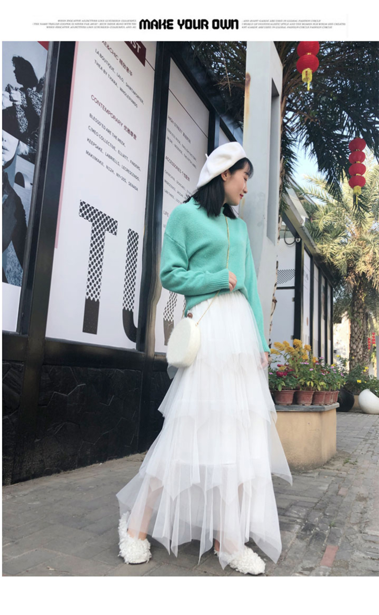 Women irregular Tulle Skirts Fashion Elastic High Waist Mesh Tutu Skirt Pleated Long Skirts Midi Skirt Saias Faldas Jupe Femmle 24
