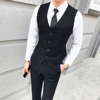 S 5XL plaid vest men suit wedding business vest waistcoat men set ( vest + pants )