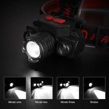 USB Перезаряжаемый светодиодный налобный фонарь, головной светильник, фонарь, светильник-вспышка, водонепроницаемый налобный фонарь для кемпинга светильник с USB
