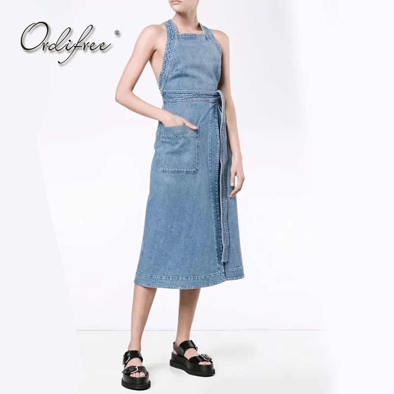 6bf20e6acb4a Ordifree 2018 Лето джинсовый сарафан Для женщин платье из джинсовой ткани  комбинезоны сексуальный повязку Спагетти ремень