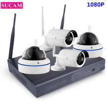 SUCAM 4CH 1080P CCTV System Wireless Outdoor and Indoor Home Security Plug and Play Wifi Video Surveillance Camera Kit Infrared