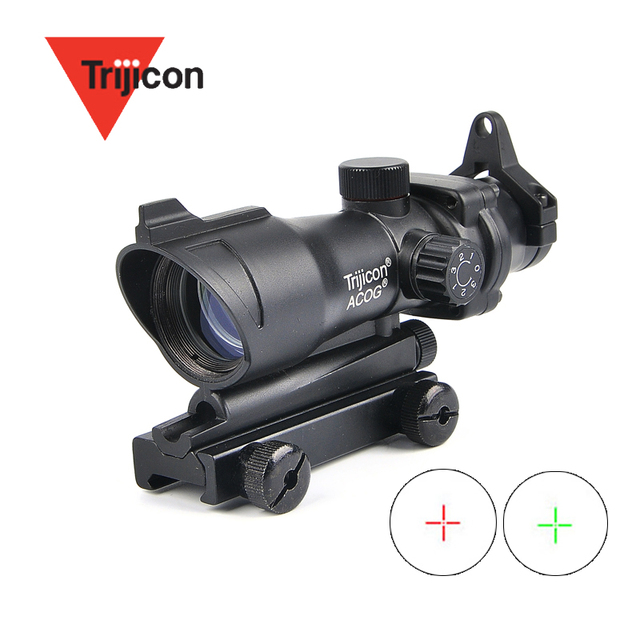 ACOG 1X32 Tactical Red Green Dot Sight Illuminated Optical Rifle Scope With 20mm Rail For Airsoft Gun 1