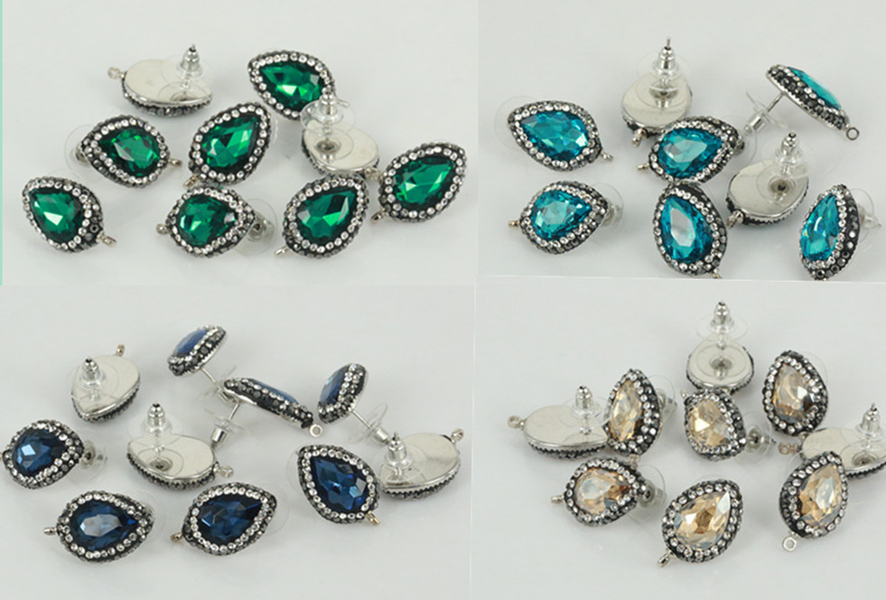 10PCS/LOT Fashion Jewelry Crystal Earrings Studs for DIY Making Earrings Findings Connectoring Dangles Part