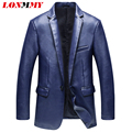LONMMY 2016 Motorcycle Leather jacket men suits blazers for man PU Slim fit Fashion men blazer suit male leather jacket blazer