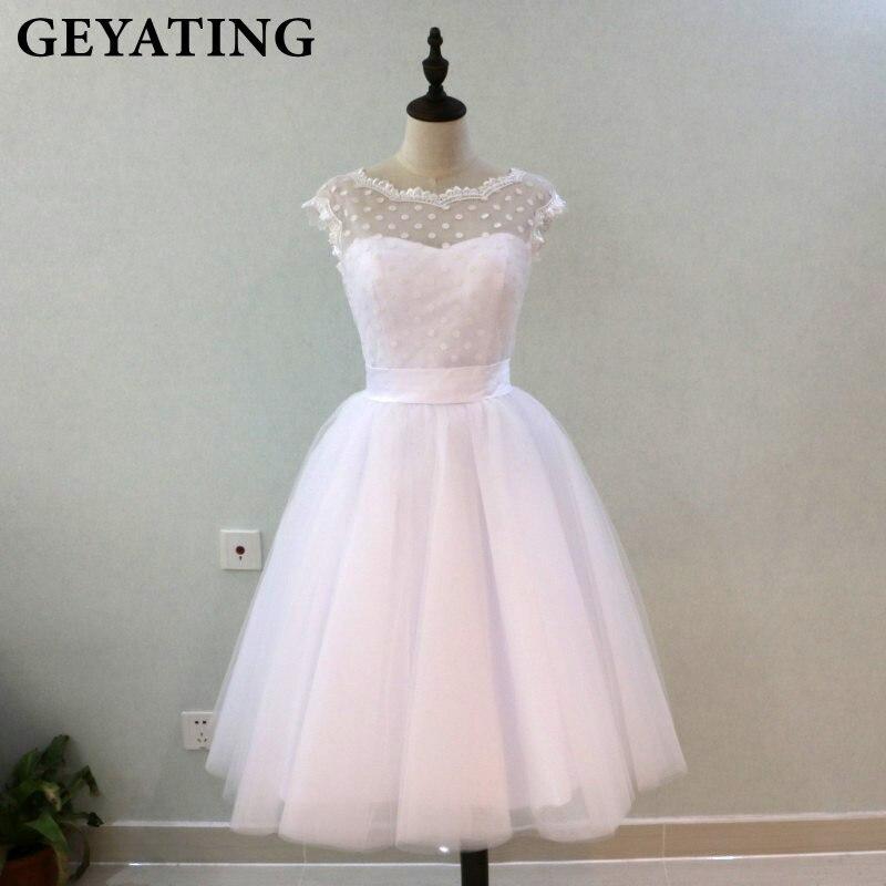 Vintage 1950's Polka Dotted Short Wedding Dress Tea Length Little White Dresses 2019 Vestidos de Novia Summer Beach Bridal Gowns