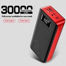 Bateria externa de 30000mah led, carregador usb duplo com display de led para iphone, samsung e tablet, qc, carregamento rápido banco de banco