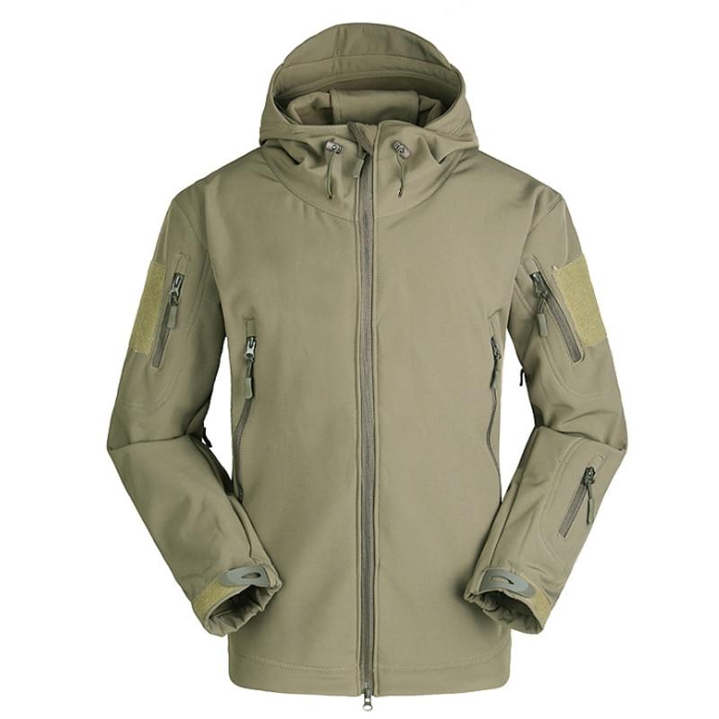 S-3XL Men Hiking Jacket Sport Outdoor Fleece Coat Waterproof Windproof Camping Tactical Outerwear Hooded Male Softshell Jacket