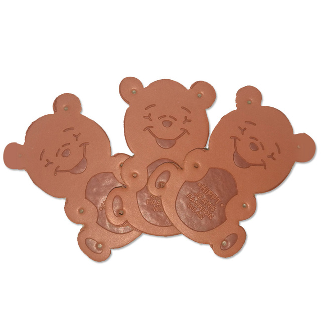 Handmade Leather Patches For Clothing Bear Logo Diy Craft Tags For
