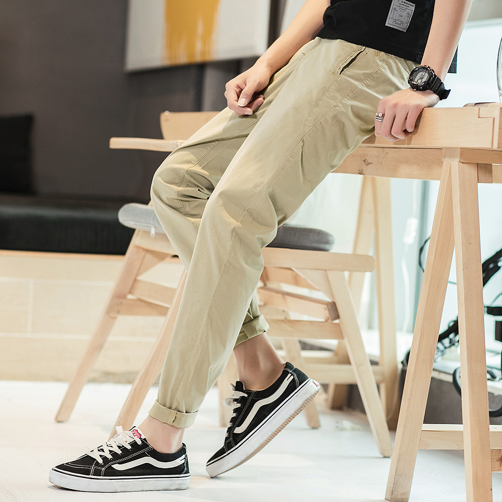 44f727dcbac6 2019 Fashion Men Business Casual Pants Cotton Slim Straight Trousers Spring  Long Pants Male Trousers Mens