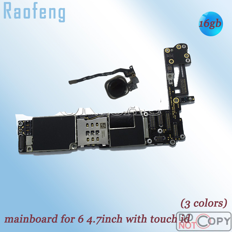 Raofeng  16GB well work with Touch ID Unlocked mainboard For Iphone 6 4.7inch Disassembled Motherboard With Chips logic board(China)