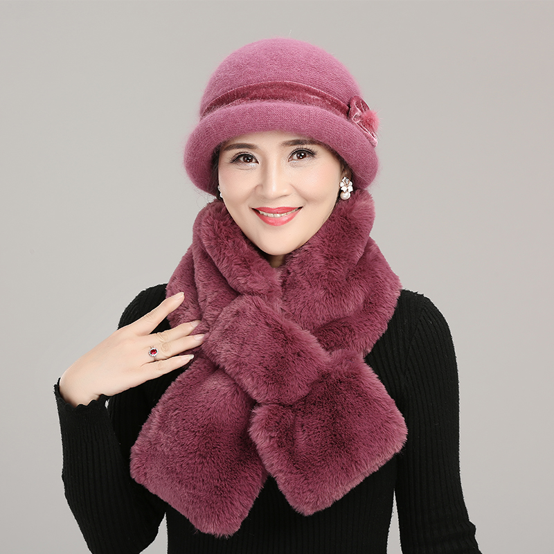 Middle-aged Mother Hat Female Winter Warm Rabbit Fur Blend Knitted Cap Christmas Gift Grandma Plus Velvet Hats Scarf Set H7133