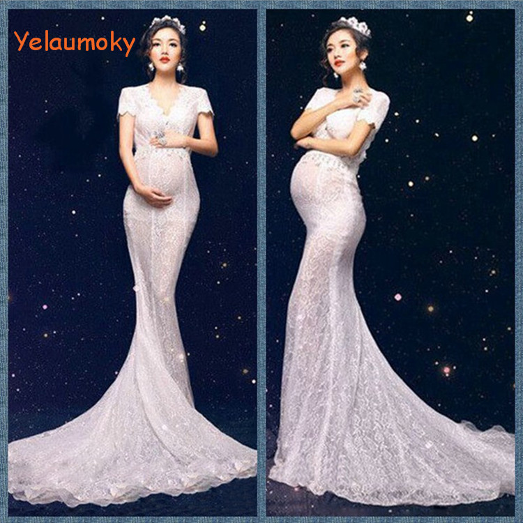 pregnancy long lace dress maternity photography props pregnant clothes woman's beach dress bridal wedding lace dress[Yelaumoky] maternity photography props clothes for pregnant women dress pregnancy clothes photography white long maternity dress