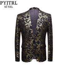 PYJTRL New Mens Plus Size 5XL Gold Pattern Casual Slim Fit Blazer DJ Club Stage Singer Party Costume Wedding Groom Suit Jacket(China)