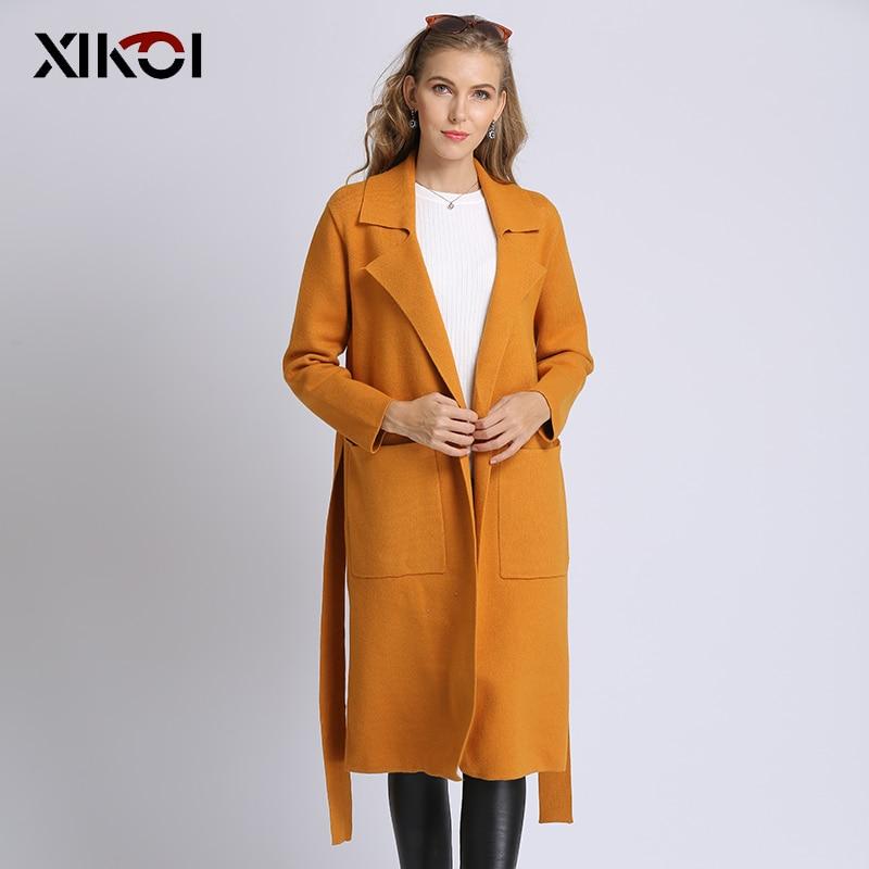 XIKOI Women's Trench Coat Slim Solid Lapel MIDI Bind Belt Autumn Winter Women's Cardigan Long Dust coat Polyester Viscose-in Cardigans from Women's Clothing    1
