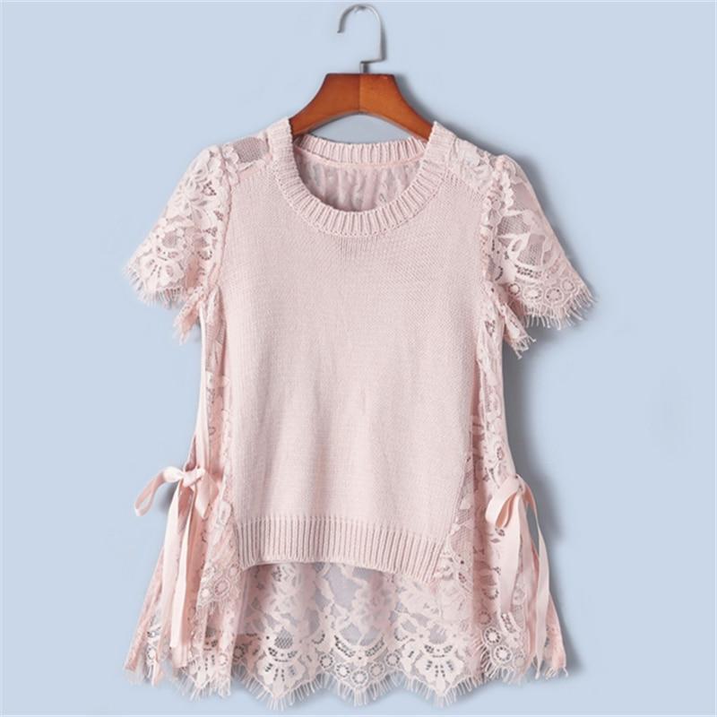 Camisetas de encaje elegantes delgadas con diseño de Tunjuefs Lolita delantera corta espalda larga para mujer verano-in Camisetas from Ropa de mujer    3