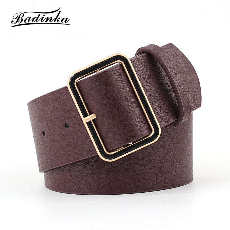 Badinka 2018 New Designer Ladies Gold Square Buckle Belt Womens Wide Black Red PU Leather Belts for Women Jeans Cinturon Mujer