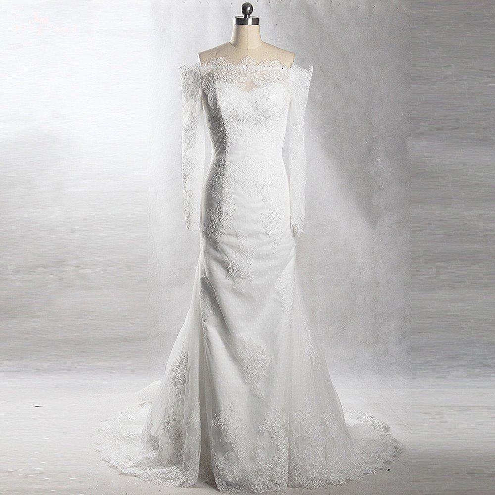 French Lace Mermaid Wedding Dress: RSW904 Yiaibridal Real Job French Lace Dots Tulle Mermaid