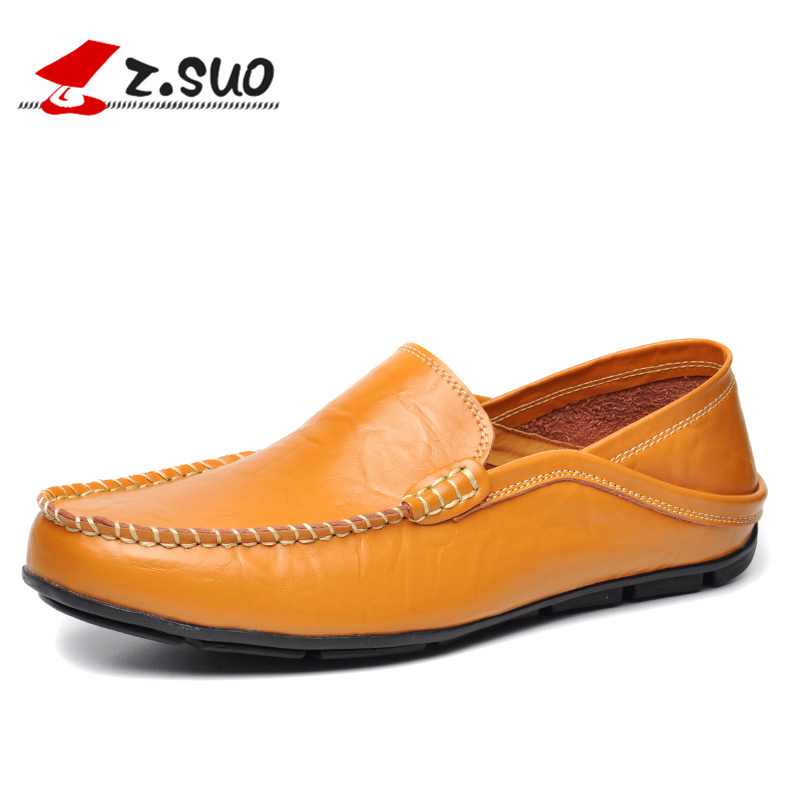 Leather Men Casual Shoes Loafers Autumn Comfortable Driving Flats Shoes Plus Size 45 46