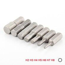 """Juego de puntas de destornillador hexagonales, vástago hexagonal de 1/4 """", 25mm, cabeza hexagonal, brocas para herramienta eléctrica H2 H3 H4 H5 H6 H7 H8, 7 Uds."""