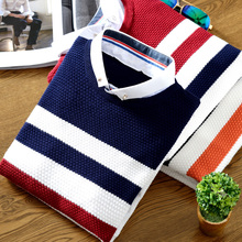 Striped Mens Long-sleeved Sweater 2017 Autumn Winter Men Knitting Sweater Slim Shirt Collar Fashion Business Hot V Neck Size 2XL