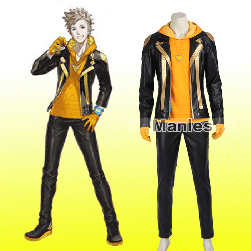 Pokemon Go Costume Team Instinct Spark Costume Cosplay Yellow Team Leader Uniform Halloween Carnival Outfit Adult Customized