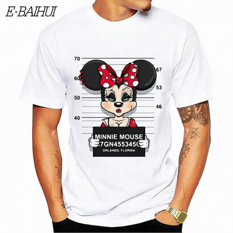 E-BAIHUI new minnie print tees mouse   t  -  shirt   men tops hip hop casual funny dog cartoon tshirt homme comfort cotton   t     shirt   CG001