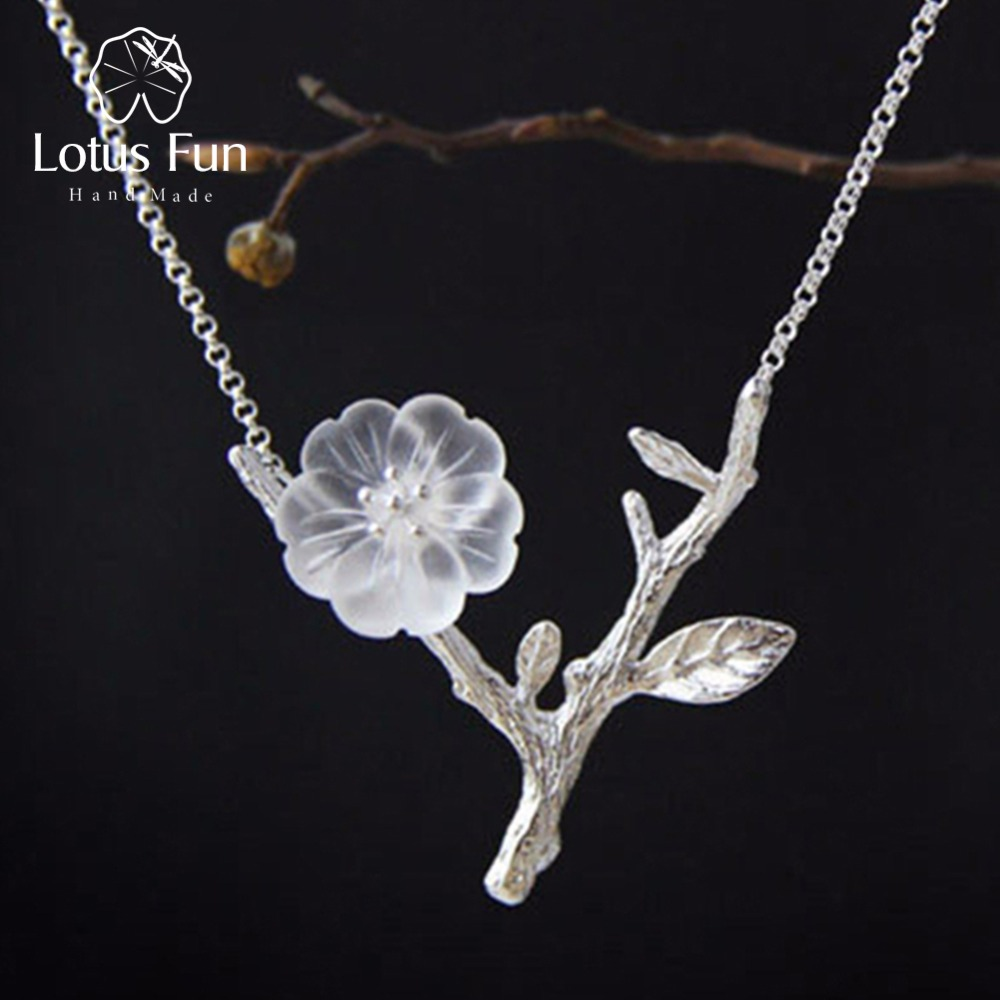 Lotus Fun Flower in the Rain Necklace with Pendant Real 925 Sterling Silver Handmade Designer Fine Jewelry for Women Collier