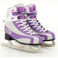 Jus japy Skate Figure Patins Danse Glace Astuces Skate Chaussures Enfant Adulte Patins À Glace Professionnel Fleur Couteau la Vraie Glace Patines
