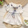 2016 verão nova meninas vestidos bordados de flores meninas vestido de festa para crianças roupas 100% algodão infantil meninas vestido de verão