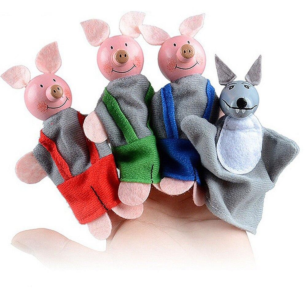 4PCS Dolls Children Squishy Icecream  Marionette Boys Soft Puppets Little Pigs Girls Toys Boys Christmas Finger Gift