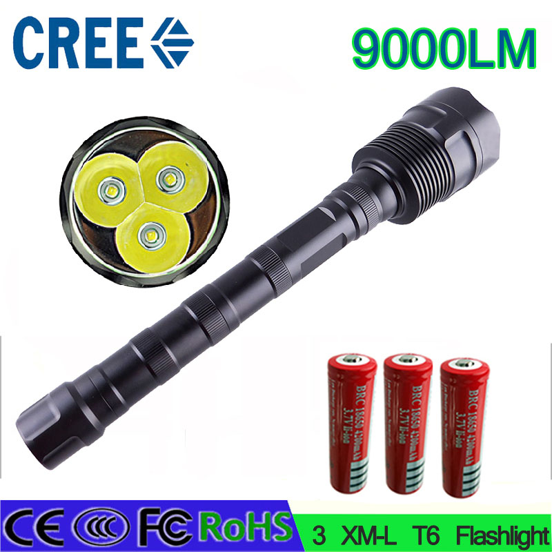 15 z40 LED Flashlight CREE XM-L 3T6 9000 Lumen 5 Mode Torch Lamp Light powerful lled torch for Camping Hunting fishing 3800 lumens cree xm l t6 5 modes led tactical flashlight torch waterproof lamp torch hunting flash light lantern for camping z93