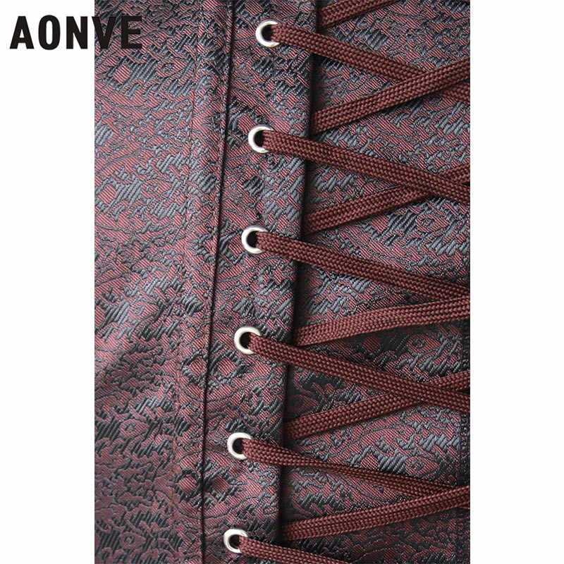 0bb461e24be ... AONVE Women Brown Steampunk Corsets Sexy Lace Up Vintage Corselet Push Up  Bustiers Gothic Gorset Waist ...