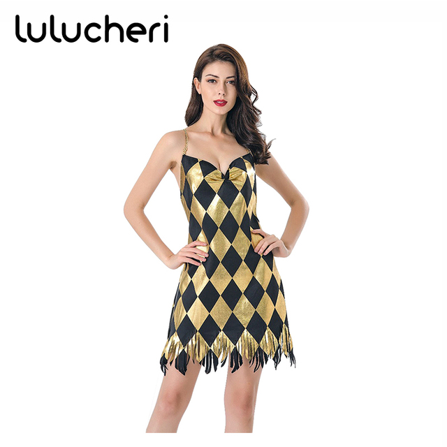 Harley Quinn Sexy Dresses Bodycon Cosplay Costume Sequins Party Dresses for Women  Adult Carnival Plaid Halloween Jazz Dance Wear 4045e8a28d3e