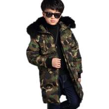 2016 Boys Winter Jacket Camouflage Printed Cotton Padded Boy winter Coat Hooded Fur Children's Winter Jackets Warm Kids Parka