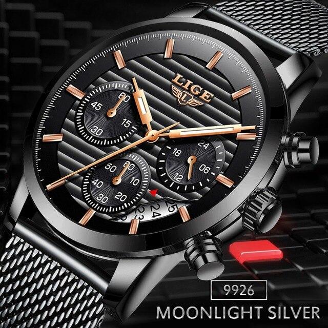 Lige новые часы Мужские кварцевые повседневные модные с сетчатым