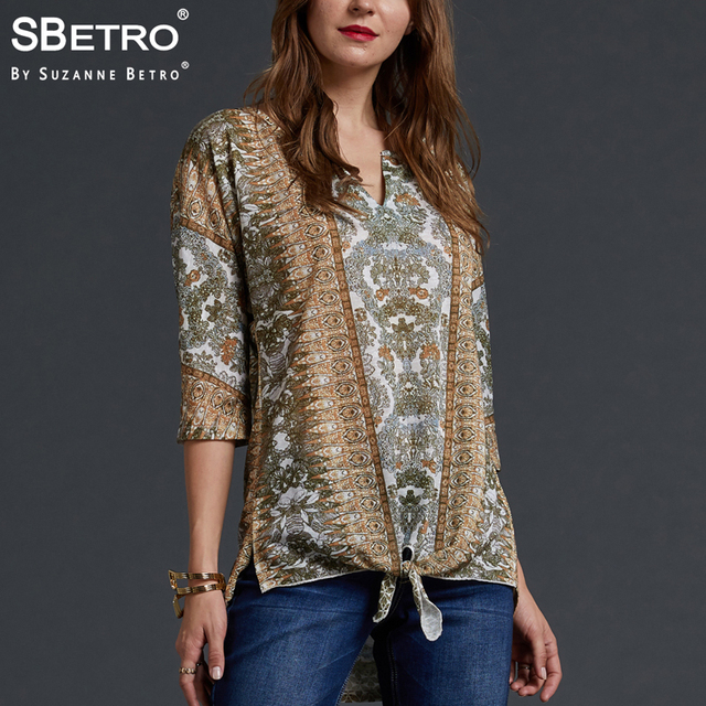 b678cd40b44 SBetro by Suzanne Betro Casual Print Tunic Tops Female Ethnic Geometric Tie  Notch Neck Long Sleeve Autumn Women Pullover Shirts