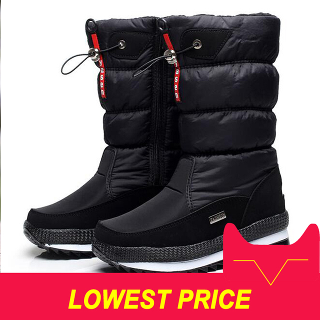 Mới 2019 Giày bốt nữ đế mùa đông giày dày sang trọng chống trơn trượt chống nước Ủng cho nữ botas mujer