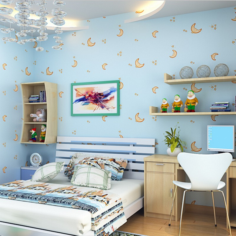 Beibehang Boy Girl Room Children Bedroom 3D Wallpaper Cartoon Moon And  Stars Living Room TV Background 3D Wallpaper Blue Pink
