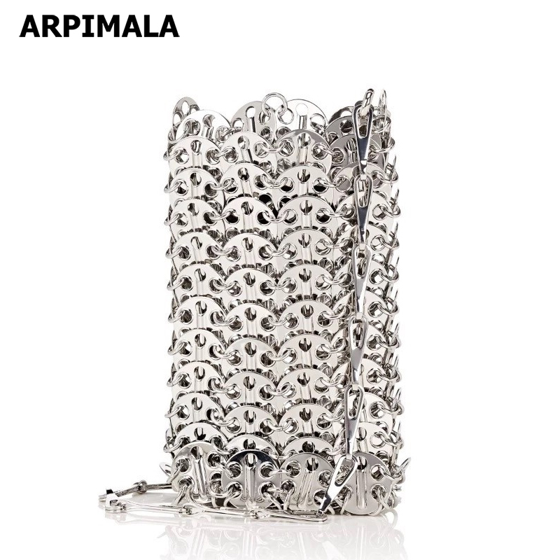 ARPIMALA Silver Women Messenger Bags Metal Brass Cross Body Bag Famous Brand Chain Mini Handbags Luxury